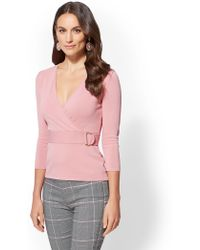 New York & Company - 7th Avenue - V-neck Wrap Sweater - Lyst