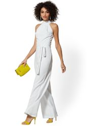 00bc6de8c54 Lyst - New York   Company Belted Halter Jumpsuit in White