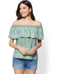 New York & Company - Flounced Off-the-shoulder Blouse - Lyst