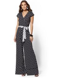 801a87956994 New York   Company - Black   White Dot-print Wrap Jumpsuit - Lyst