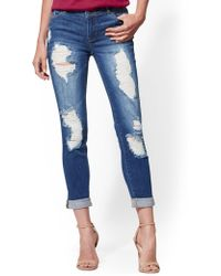 6baf911c6127 New York   Company - Soho Jeans - Destroyed Boyfriend Jeans - Royal Blue -  Lyst