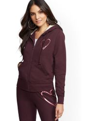 "New York & Company - Soho Street - Maroon Sherpa-lined ""love"" Hooded Jacket - Lyst"