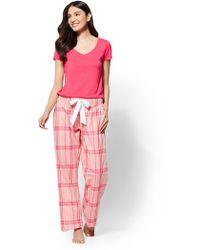 New York & Company - 2-piece Coral Plaid Pajama Set - Lyst