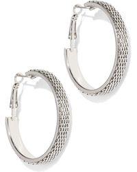 New York & Company - Silvertone Textured Hoop Earring - Lyst