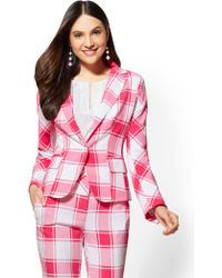 New York & Company - 7th Avenue Plaid One-button Jacket - Modern - Lyst
