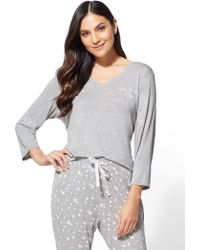 "New York & Company - Grey ""good Morning Vibes"" Pajama Top - Lyst"