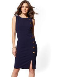 c4f269df1 New York & Company Ponte Zip-accent Sheath Dress in Black - Lyst