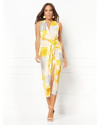 95e6cc0fa054 New York & Company - Roberta Dot-print Ruched Wrap Dress - Eva Mendes  Collection