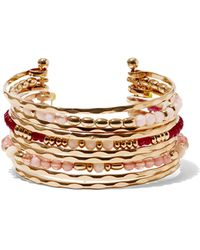 New York & Company - Beaded Bangle Cuff Bracelet - Lyst