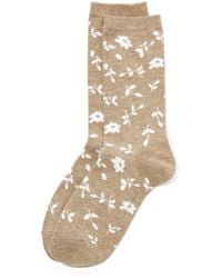 New York & Company Floral Crew Sock - Natural