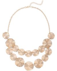 New York & Company - Goldtone Disc Necklace - Lyst