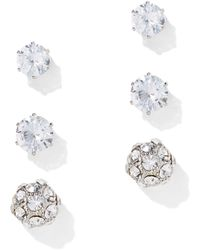 New York & Company - 3-piece Glittering Cz Post Earring Set - Lyst