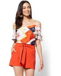 New York & Company - 7th Avenue - Floral Cold-shoulder Blouse - Lyst