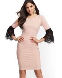 2fbf250579 New York   Company - Lace Bell-sleeve Sheath Dress - Lyst