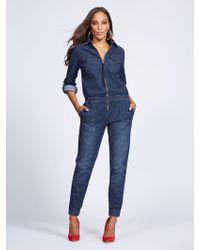 d246ce0905 New York   Company - Zip-front Denim Jumpsuit - Blue Dusk - Gabrielle Union