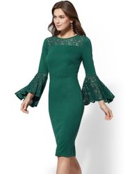 New York & Company - 7th Avenue - Lace-accent Bell-sleeve Sheath Dress - Lyst