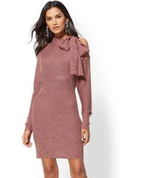 New York & Company - Bow-accent Cold-shoulder Sweater Dress - Lyst