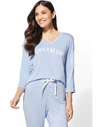 "New York & Company - Blue ""dream On"" Pajama Top - Lyst"