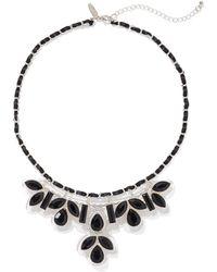 3afc444607de2 Lyst - Nine West Silvertone Black Leather Teardrop Pendant Necklace ...