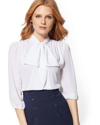 Lyst New York Company 7th Avenue Plaid Mock Neck Bow Blouse In
