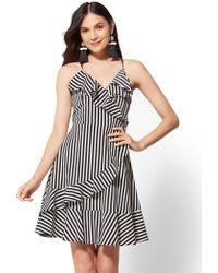 New York & Company - Stripe Ruffle V-neck Wrap Dress - Lyst
