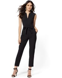 76f03af2422 Lyst - New York   Company Black-and-white Striped Jumpsuit in Black