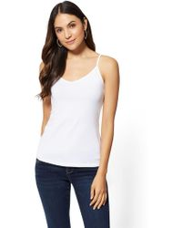 New York & Company - Cotton V-neck Camisole Top - Lyst