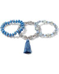 New York & Company - 3-piece Beaded Stretch Bracelet Set - Lyst