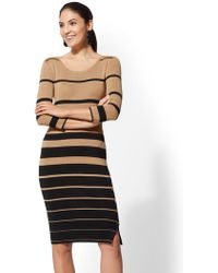 New York & Company - Button-accent Stripe Sweater Dress - Lyst