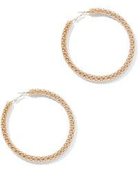 New York & Company - Goldtone Link Hoop Earring - Lyst