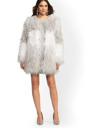 New York & Company - Grey Ombre Faux-fur Coat - Lyst