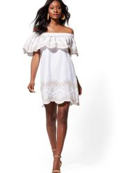 cd5ffd53b01b Lyst - New York   Company White Embroidered Off-the-shoulder Shift ...
