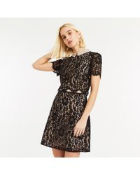ec100d2b2d62 Oasis Chiffon Sleeve Velvet Dress in Black - Lyst