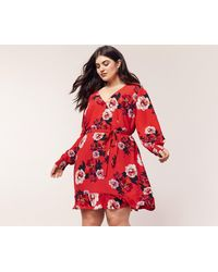 4be9d198000c Oasis - Multi Red Curve Botanical Scarf V Neck Skater Dress - Lyst