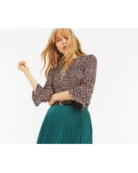 Oasis - Animal Fluted Sleeve Top - Lyst