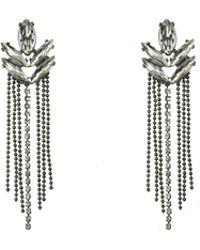 Oasis - Diamante Leaf Earrings - Lyst