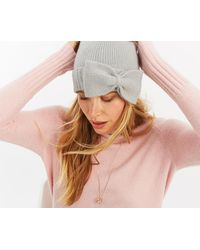 Oasis - Bow Knitted Beanie Hat - Lyst