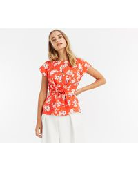 Oasis - Floral Knot Front Top - Lyst