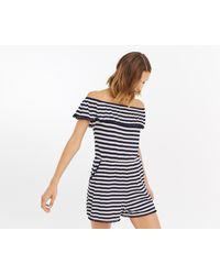Oasis - Stripe Pom Pom Playsuit - Lyst