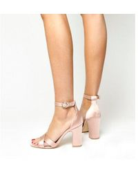 4f4a6a8fefc Lyst - Office Melbourne Satin Block Heel in Natural