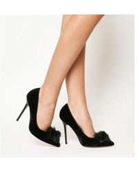 55d9363d31d5 Missguided Black Pom Pom Lace Up Closed Toe Block Heels in Black - Lyst