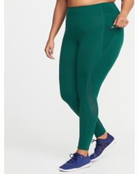 b74599a21d74c3 Old Navy High-rise Elevate Side-pocket Mesh-trim Compression Leggings in  Green - Lyst