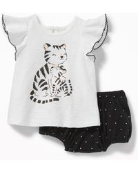 Old Navy - Graphic Flutter-sleeve Top & Patterned Bloomers Set - Lyst