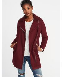 Old Navy - Long-line Brushed-felt Sherpa-collar Moto Jacket - Lyst