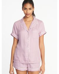 Old Navy - Soft-twill Button-front Pajama Top - Lyst
