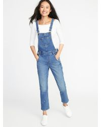 4ce40a16e02 Lyst - Old Navy Skinny Denim Overalls in Blue