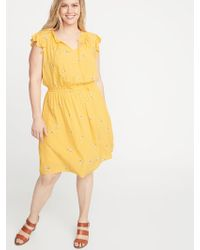 4be49f1f6c1 Old Navy - Waist-defined Flutter-sleeve Plus-size Dress - Lyst