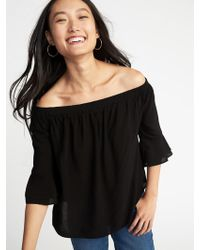75bcdedf13e Old Navy - Relaxed Off-the-shoulder Ruffle-sleeve Top - Lyst