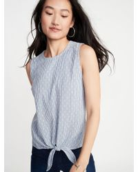 eb9f7e9292ae78 Lyst - Old Navy Sleeveless Ruffle-trim Gingham Top in Blue