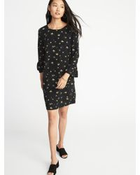 Old Navy - Floral-print 3/4-sleeve Shift Dress - Lyst